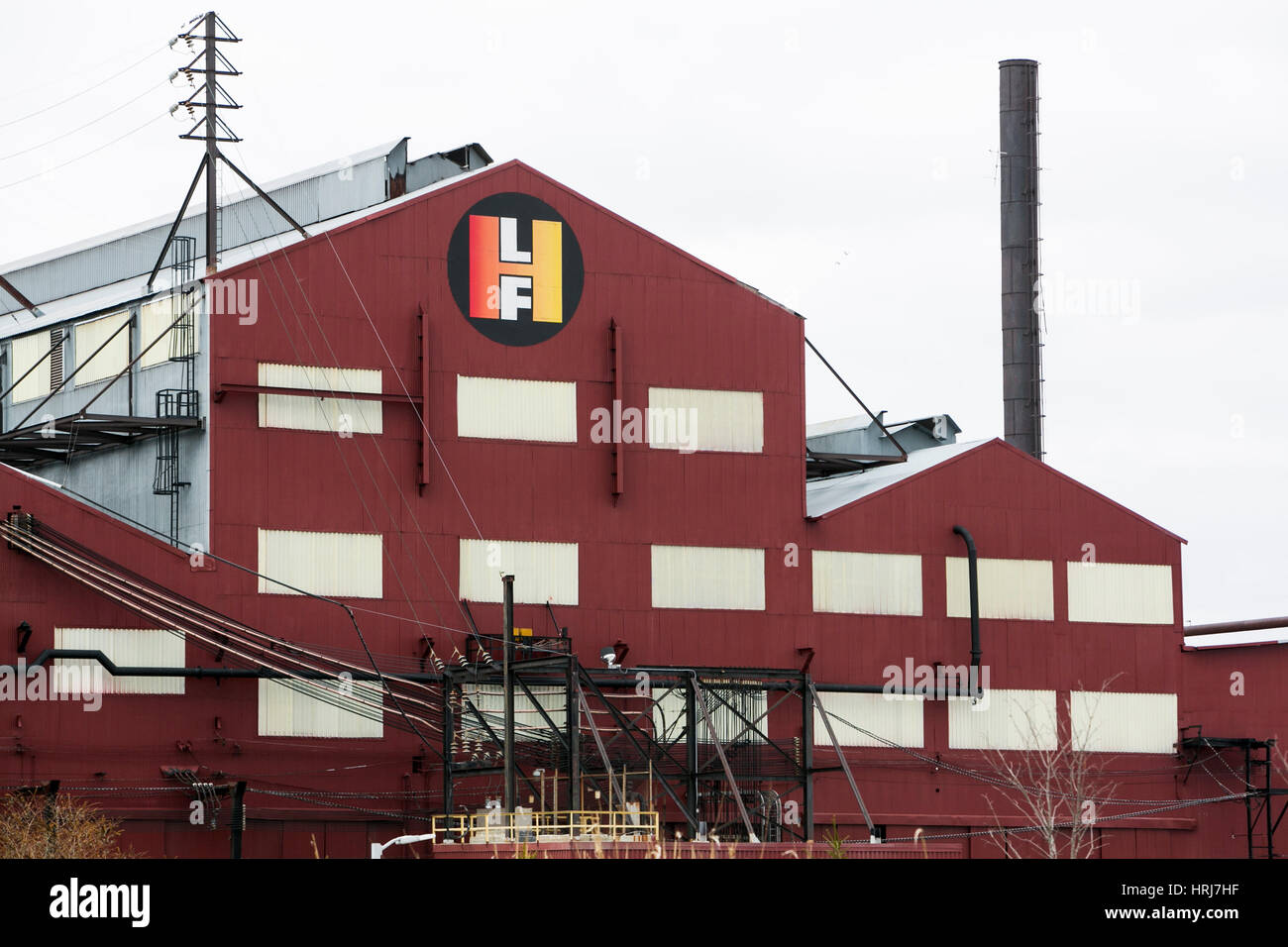 A logo sign outside of a facility occupied by the Lehigh Heavy Forge Corporation in Bethlehem, Pennsylvania on February - Stock Image