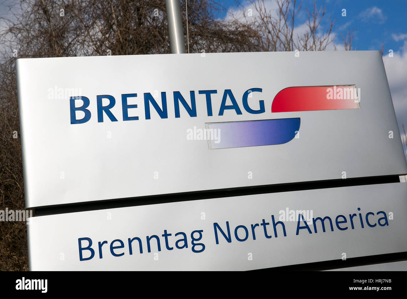 A logo sign outside of a facility occupied by Brenntag North