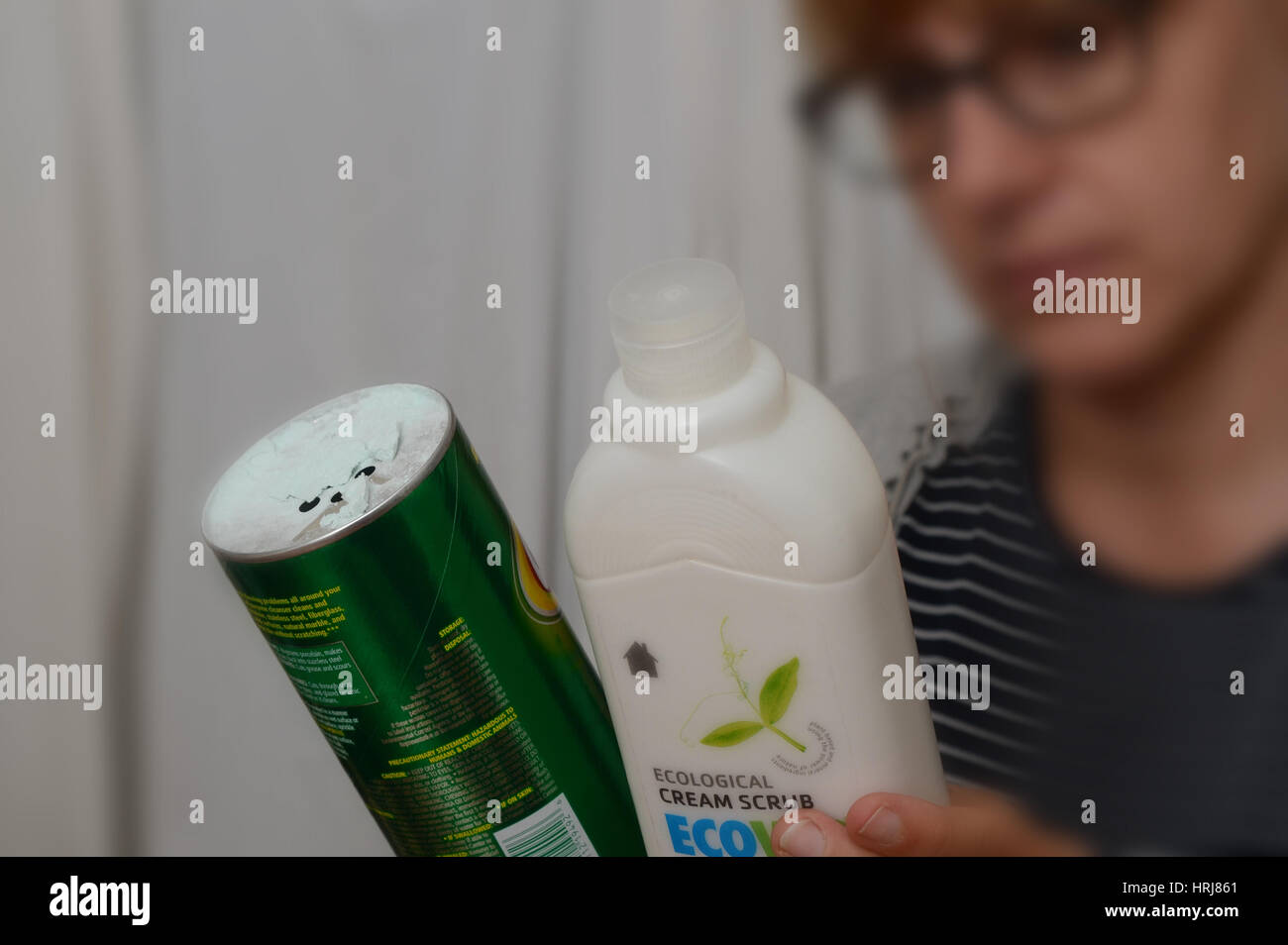 Natural versus Chemical Cleaners - Stock Image