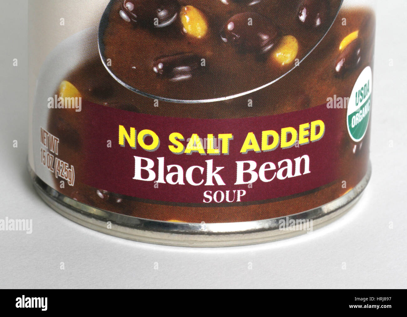 Organic Black Bean Soup with No Salt Added - Stock Image
