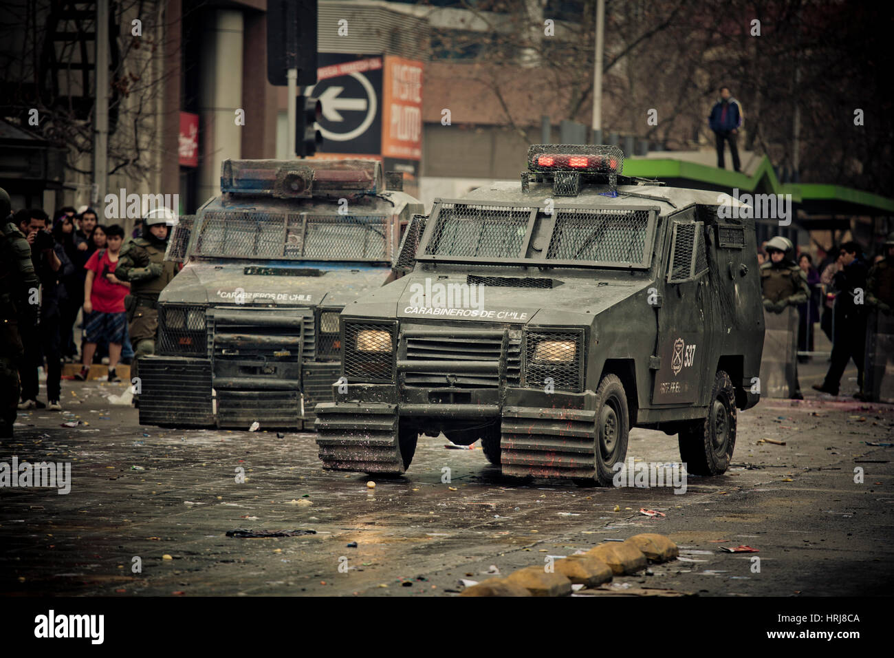 Chilean police Armored Vehicle on the street during a student strike in Santiago's Downtown, Chile. - Stock Image