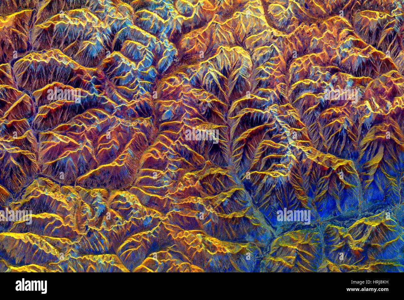 Tibetan Mountains, SIR-C/X-SAR Image - Stock Image