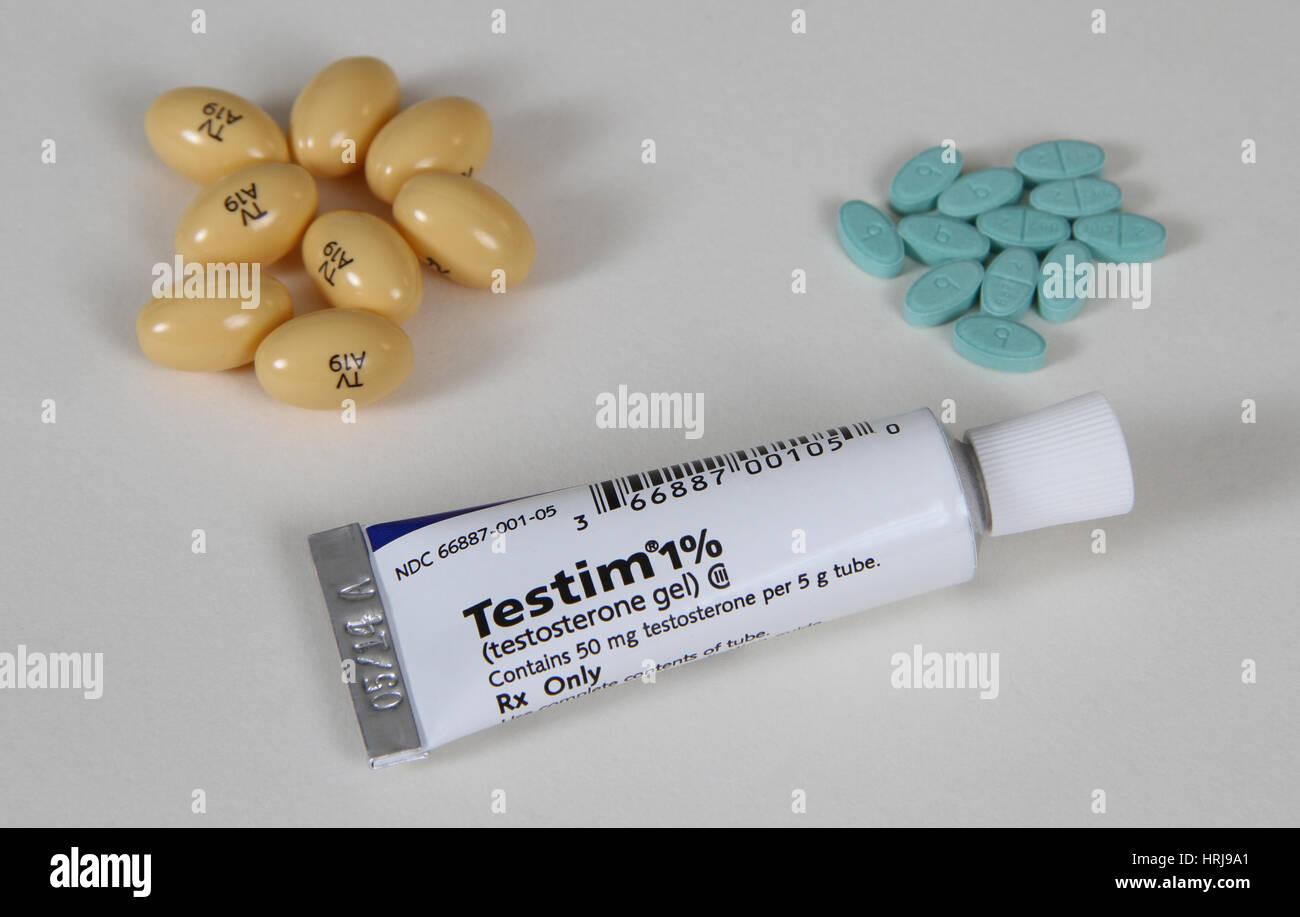 Progesterone 200mg, Estradiol 2mg and Testim 1 Stock Photo