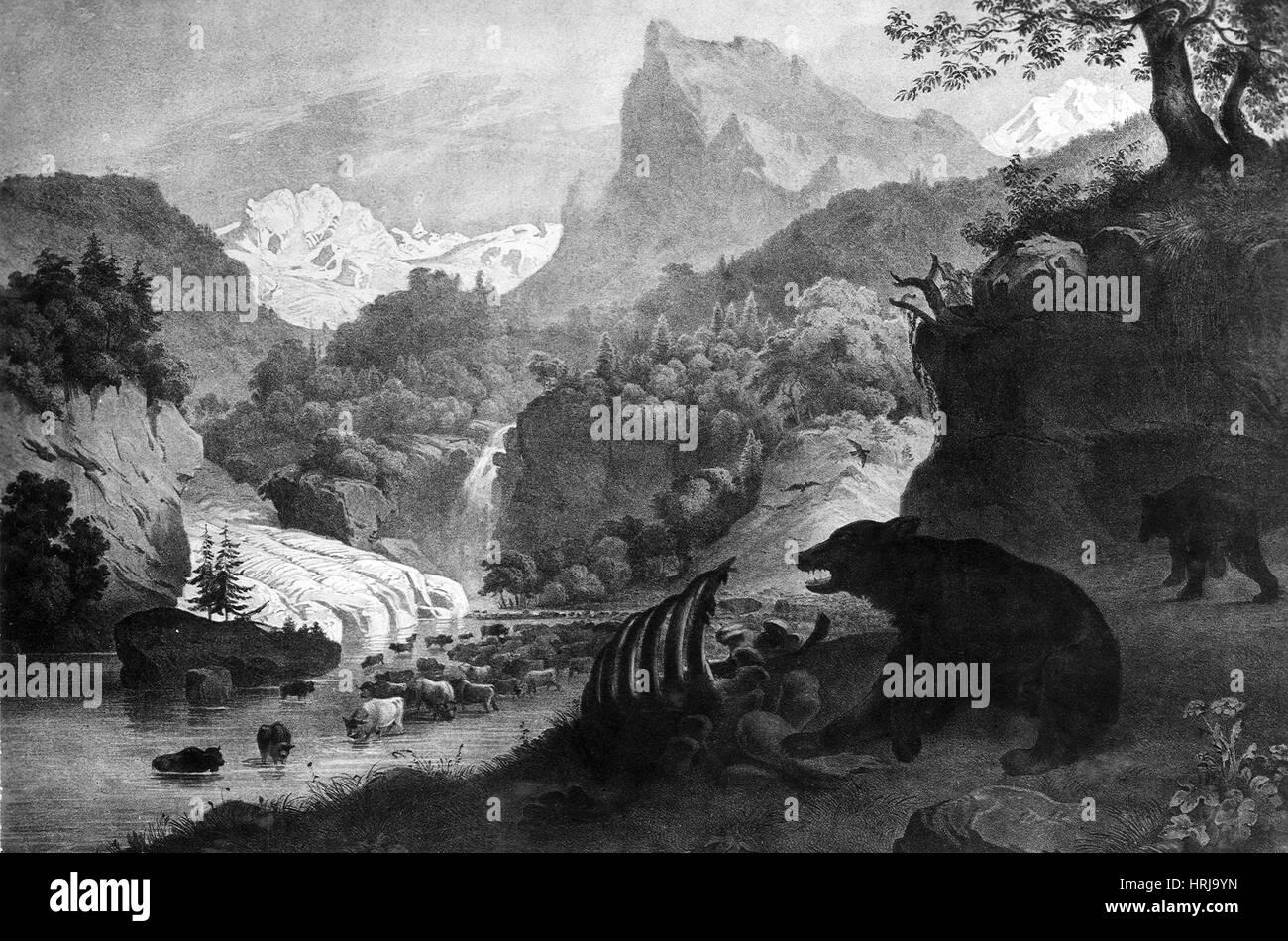 Prehistoric, Pleistocene Landscape - Stock Image