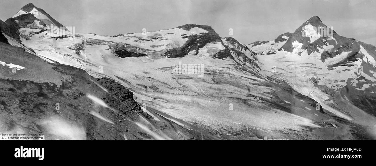 Blackfoot and Jackson Glaciers, 1914 - Stock Image