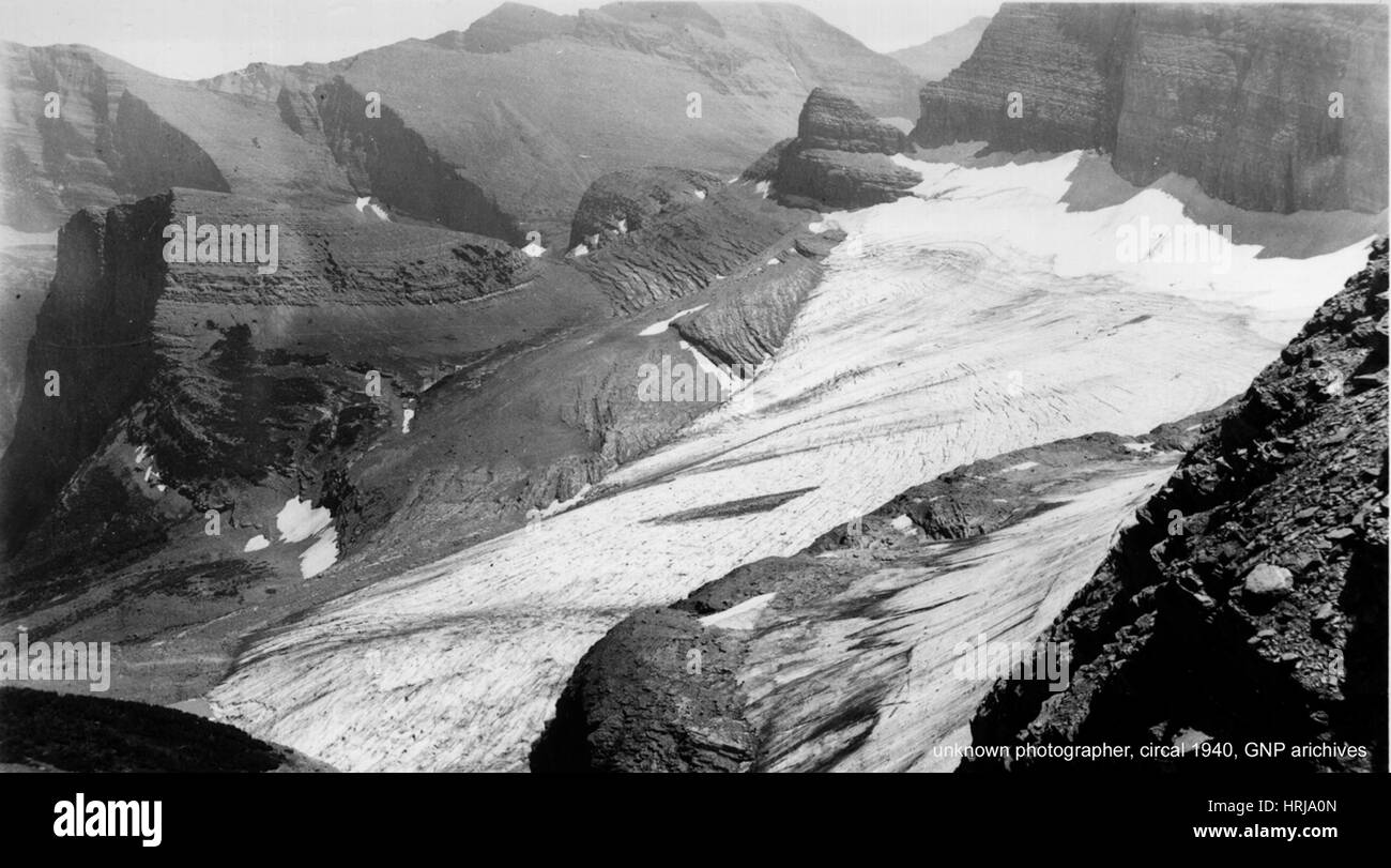 Grinnell Glacier, Glacier NP, 1940 - Stock Image