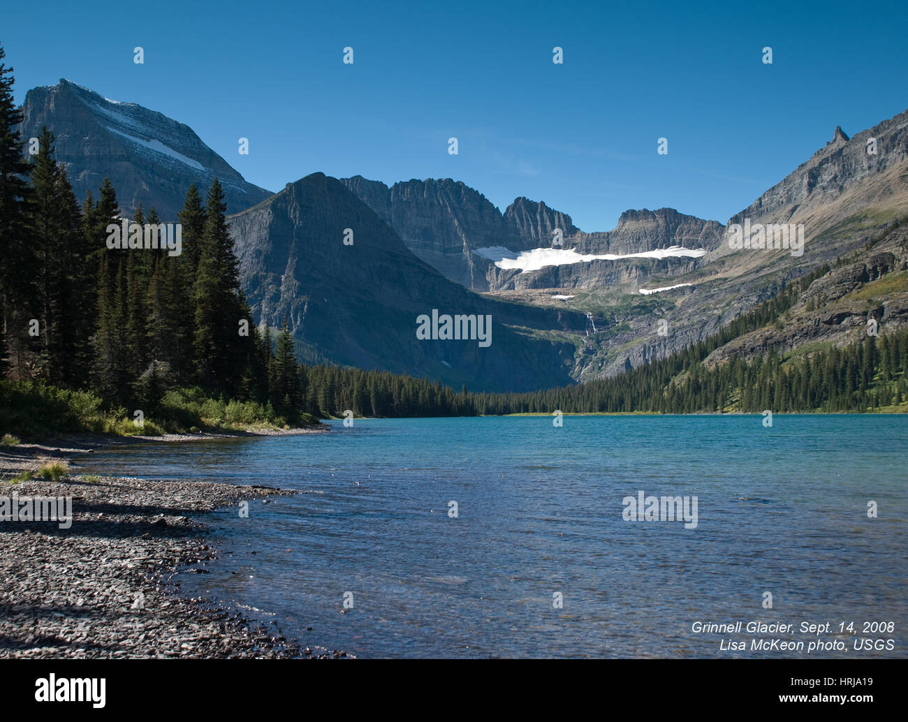 Grinnell Glacier, Lake Josephine, 2008 - Stock Image