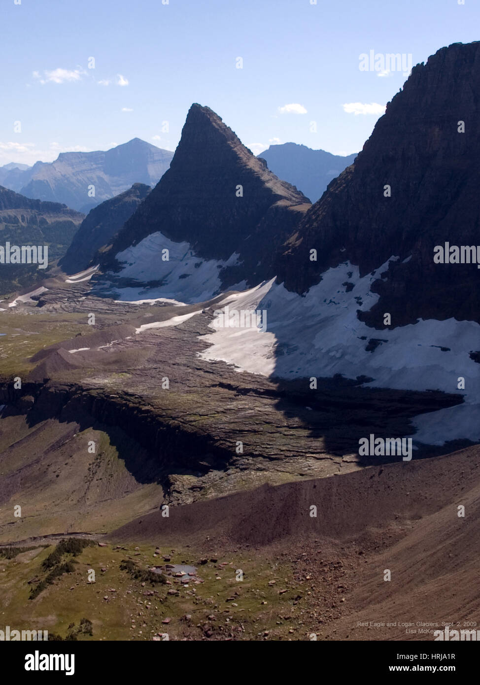 Red Eagle and Logan Glaciers, 2009 Stock Photo