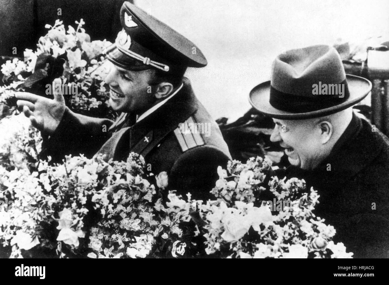 Yuri Gagarin and Nikita Khrushchev, 1961 - Stock Image