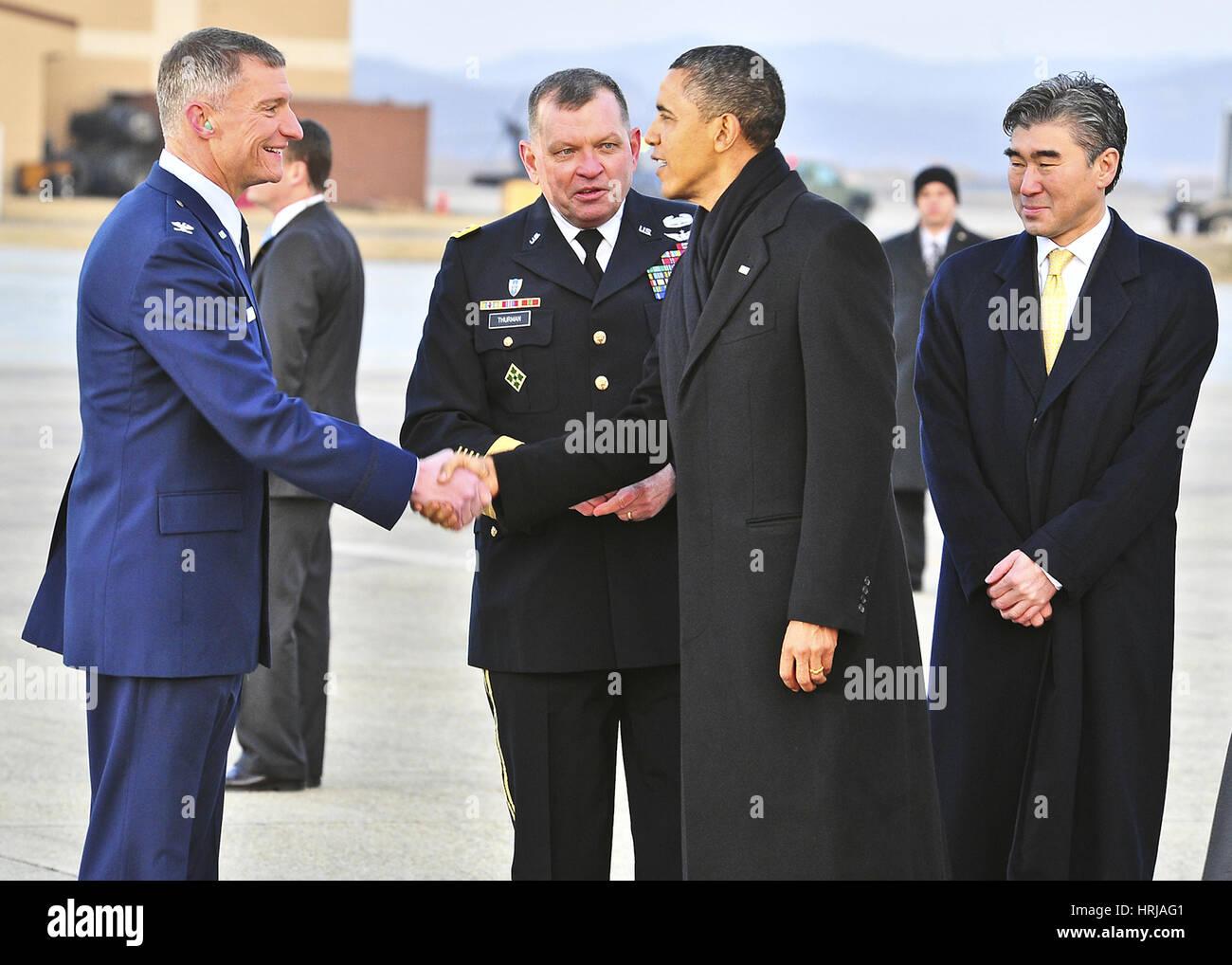 President Obama, Osan Air Base, Korea Stock Photo