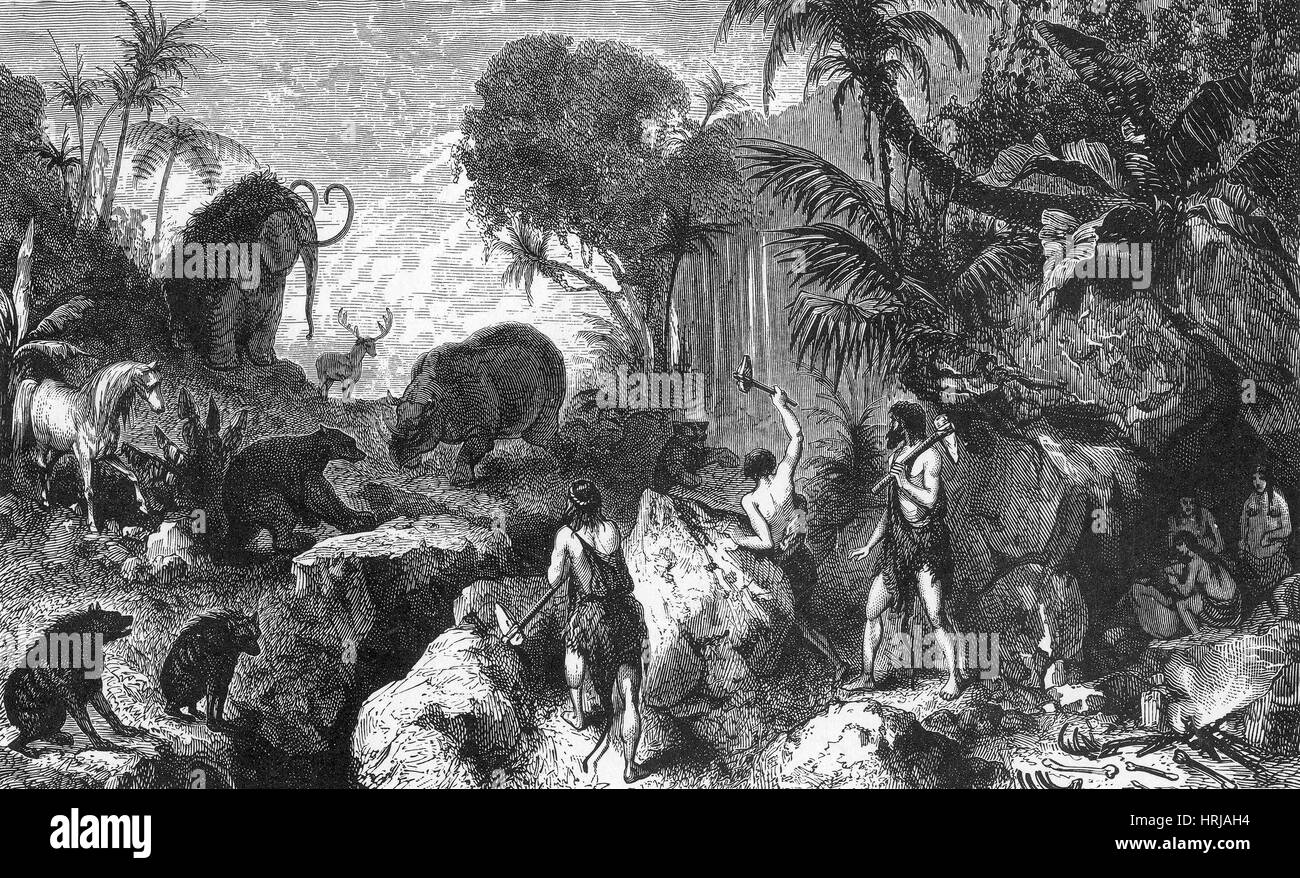 Prehistoric Man, Stone Age Cavemen - Stock Image