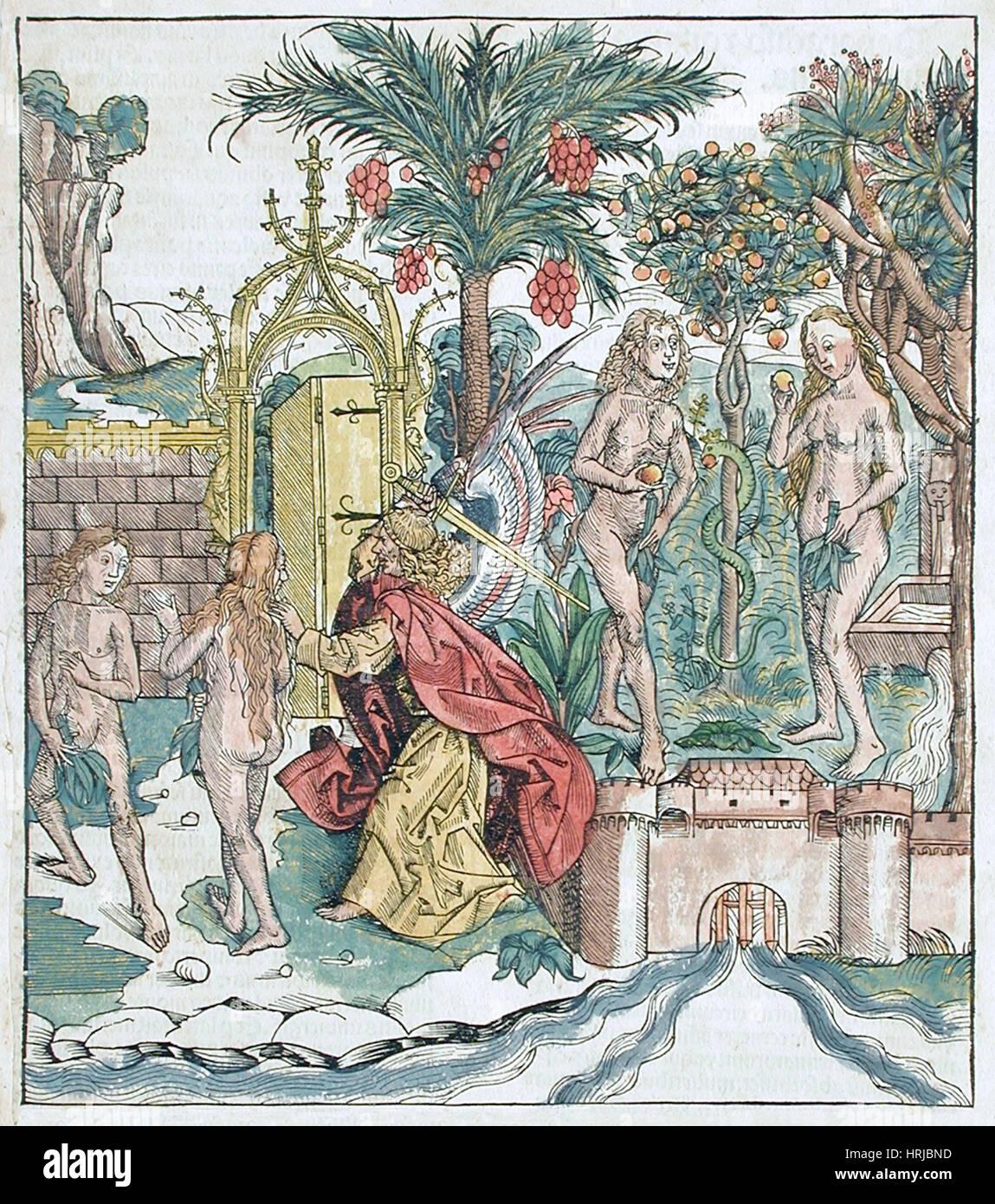 Garden of Eden, Expulsion of Adam and Eve, 1493 Stock Photo