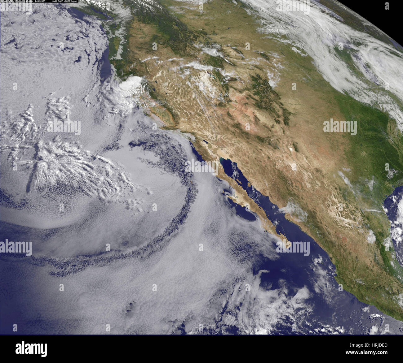 June Gloom, Actinoform Clouds, GOES, 2013 - Stock Image