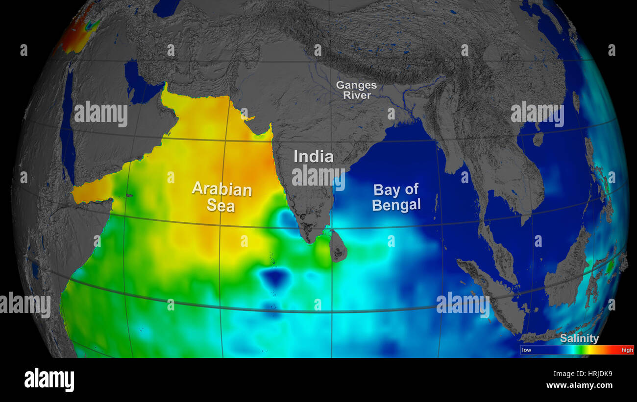 Arabian Sea, Global Salinity Data, 2011 - Stock Image