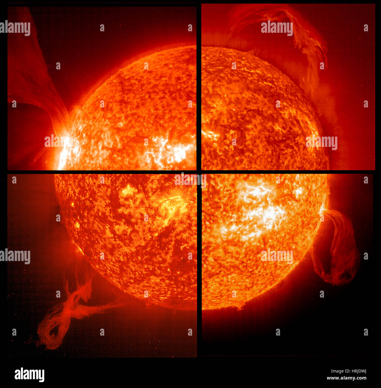 Collage of Solar Prominences, EIT, 1998 - Stock Image