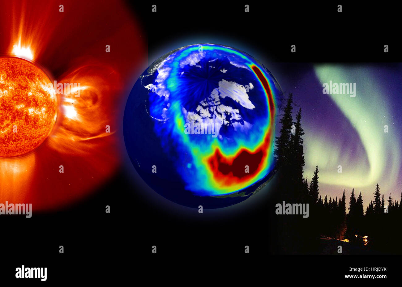 Visible Elements of Space Weather - Stock Image