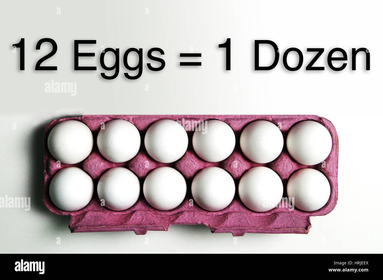 One Dozen = 12 Eggs - Stock Image