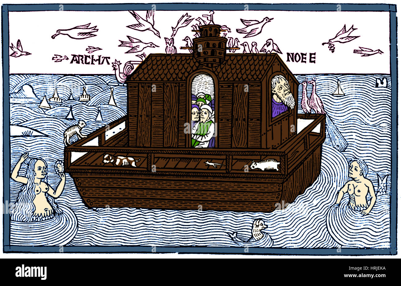 Noah's Ark with Merfolk, 1493 Stock Photo
