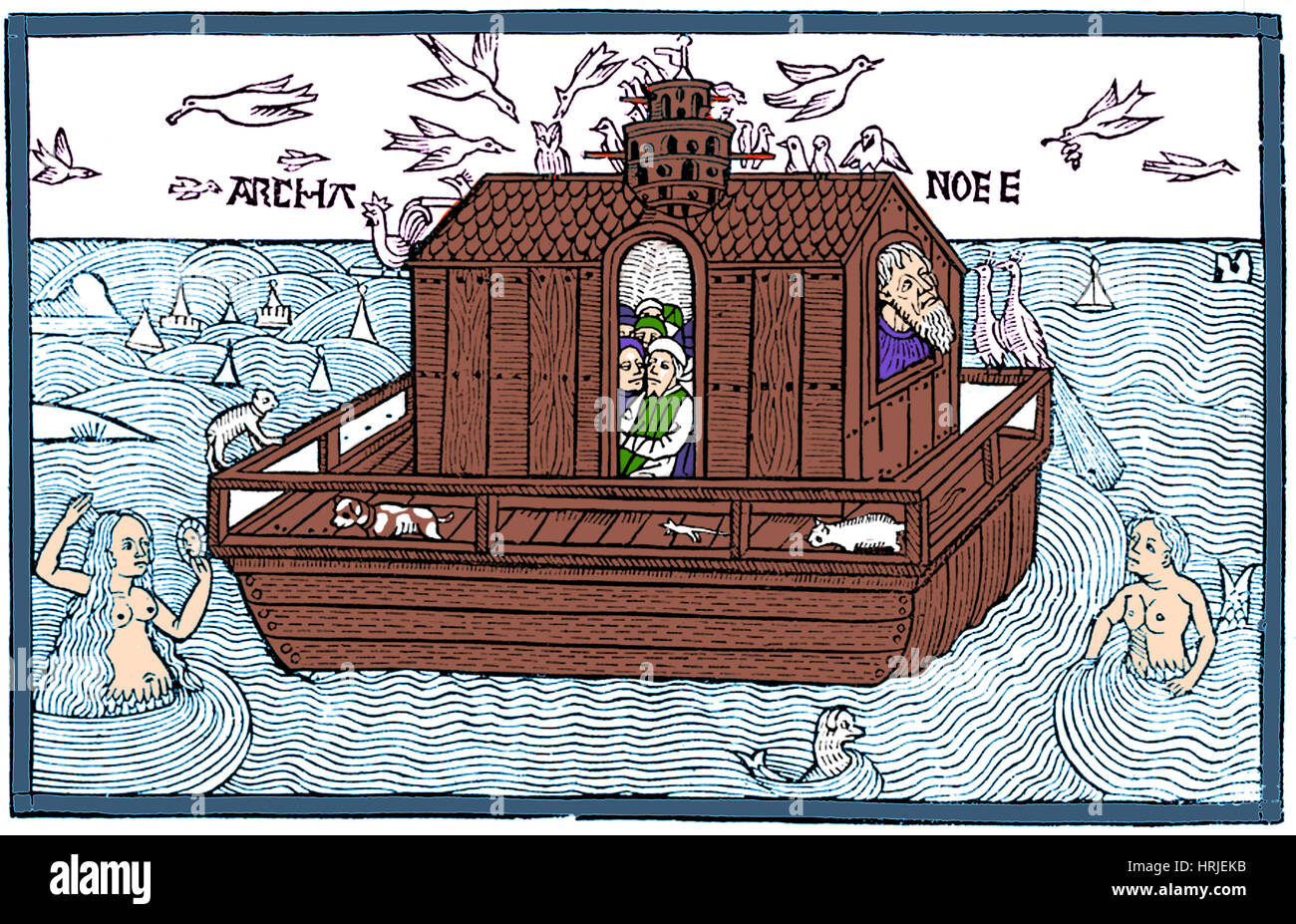 Noah's Ark with Merfolk, 1493 - Stock Image