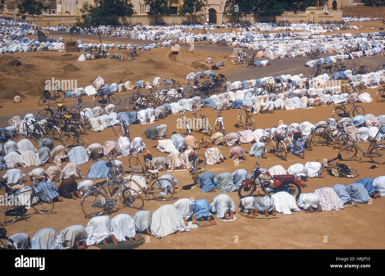 Muslims Pray Before Mosque - Stock Image