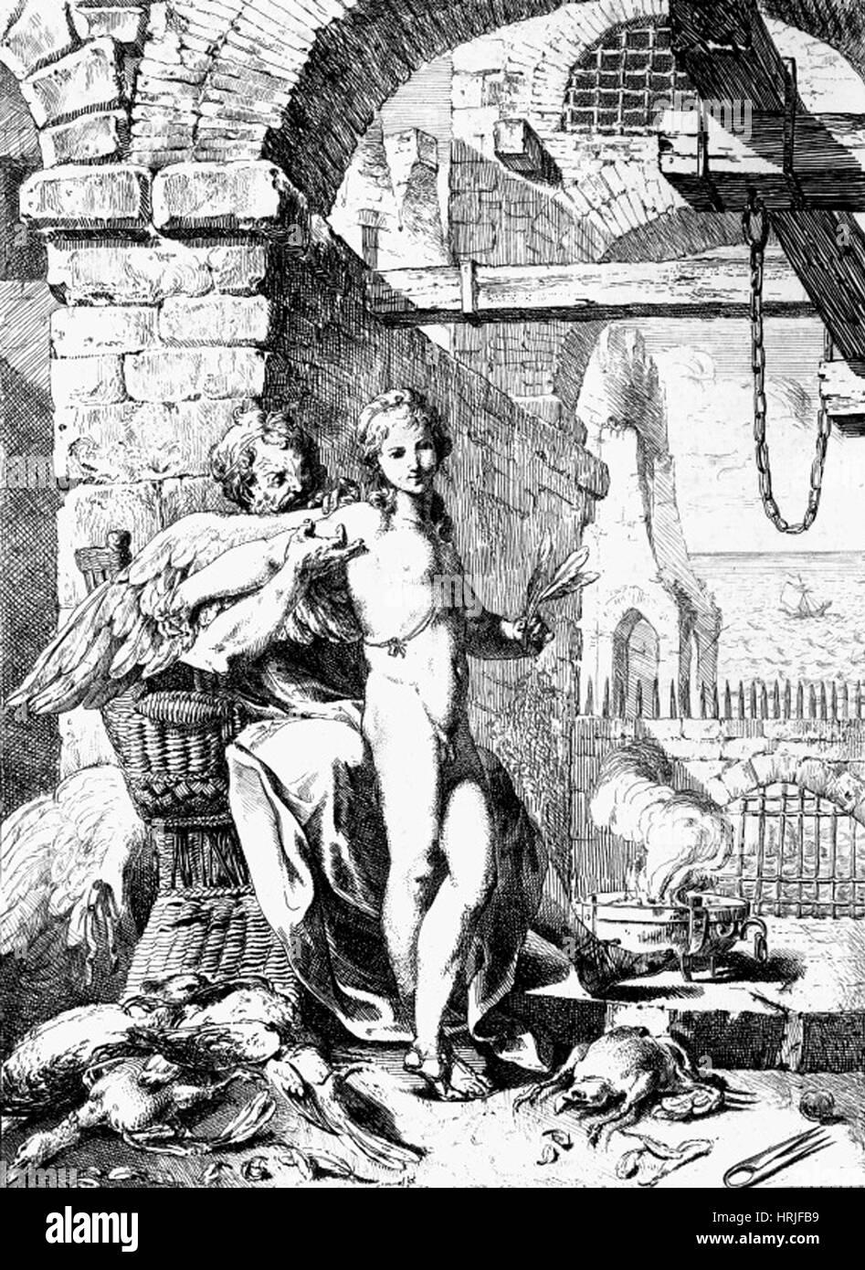 Daedalus and Icarus, Greek Mythology - Stock Image