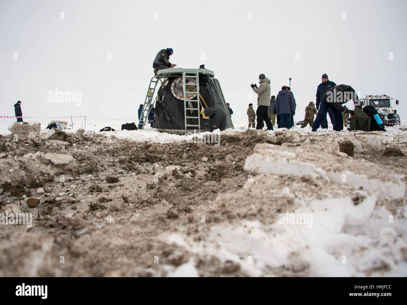 Soyuz TMA-10M Spacecraft Landing 2014 - Stock Image