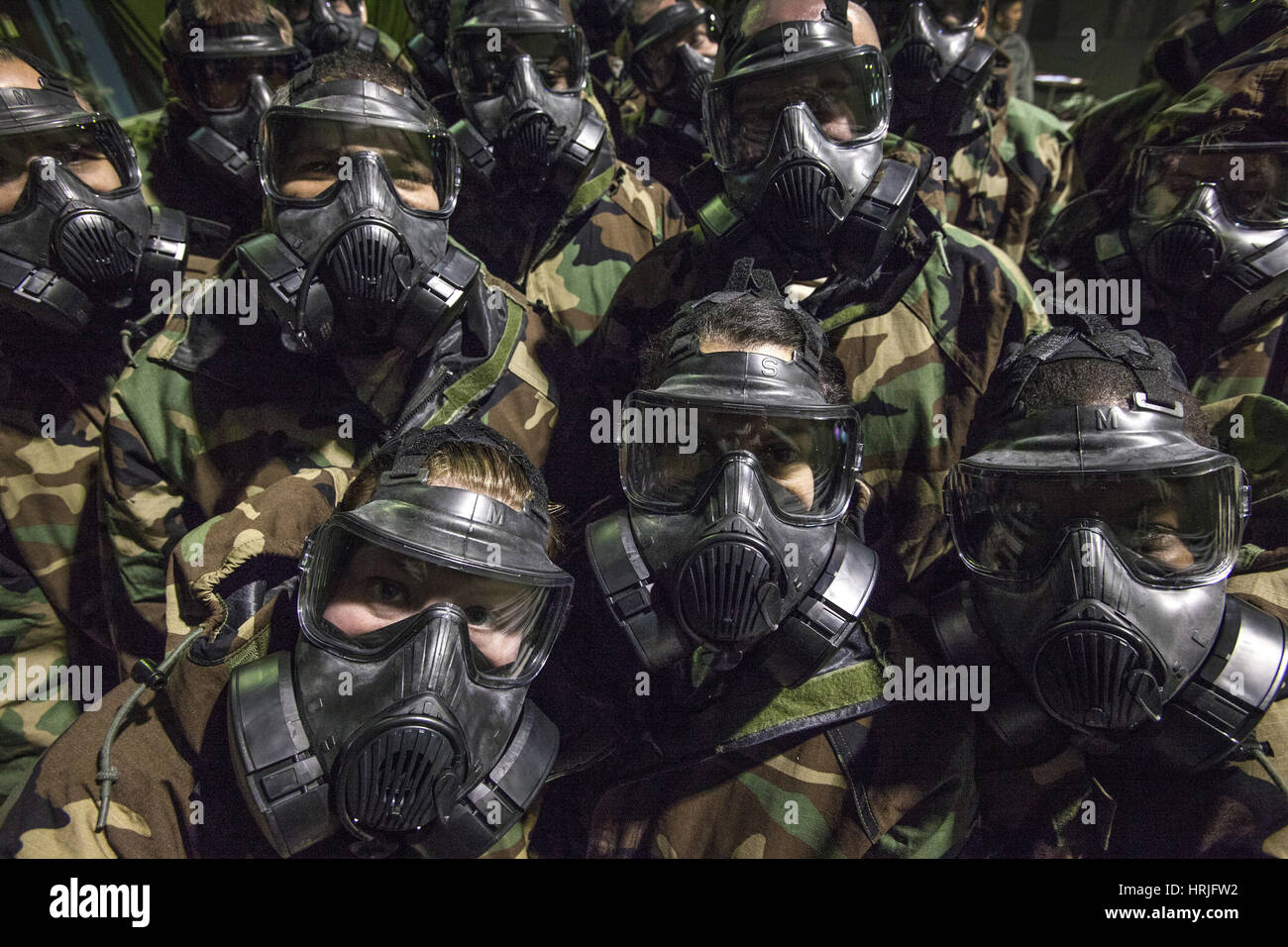 U.S. Airmen In Gas Masks - Stock Image