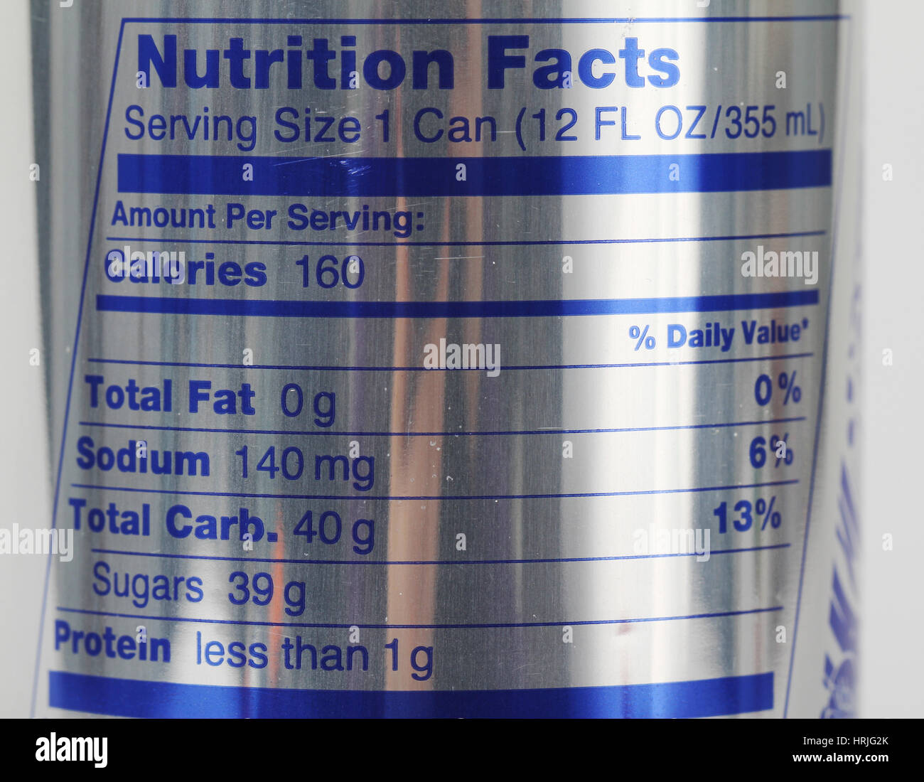 Energy Drink Nutrition Label