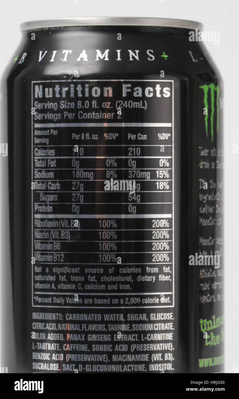 nutrition facts for energy drink stock photo: 135017428 - alamy