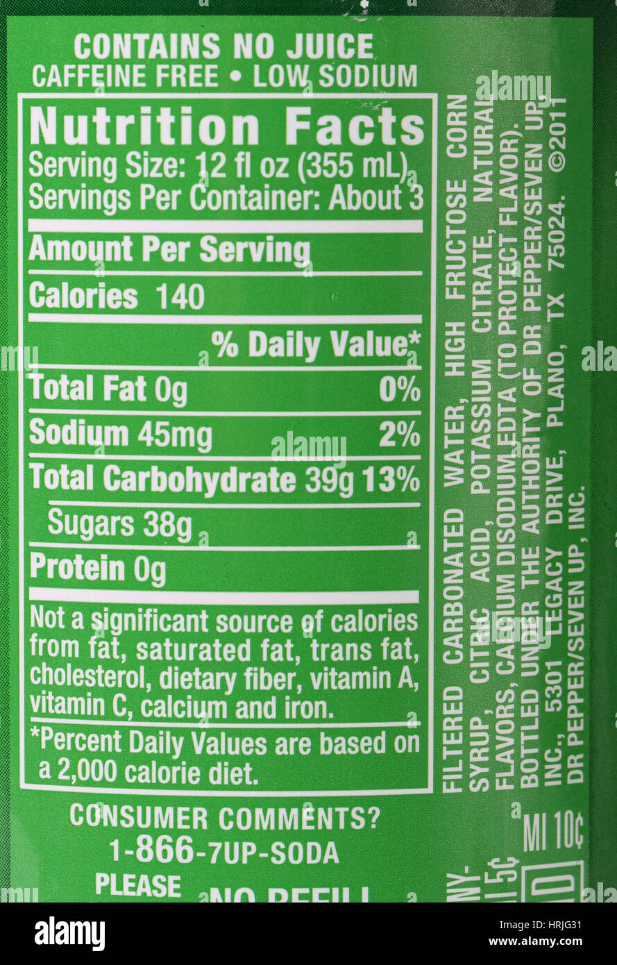 nutrition facts for soda pop soft drink stock photo: 135017429 - alamy