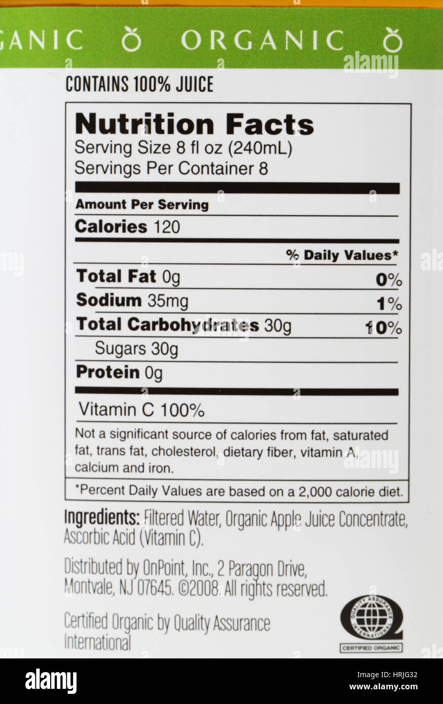 Nutrition Facts for Apple Juice Stock Photo: 135017430 - Alamy
