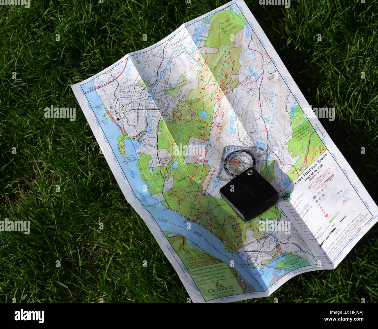 Compass and Map - Stock Image