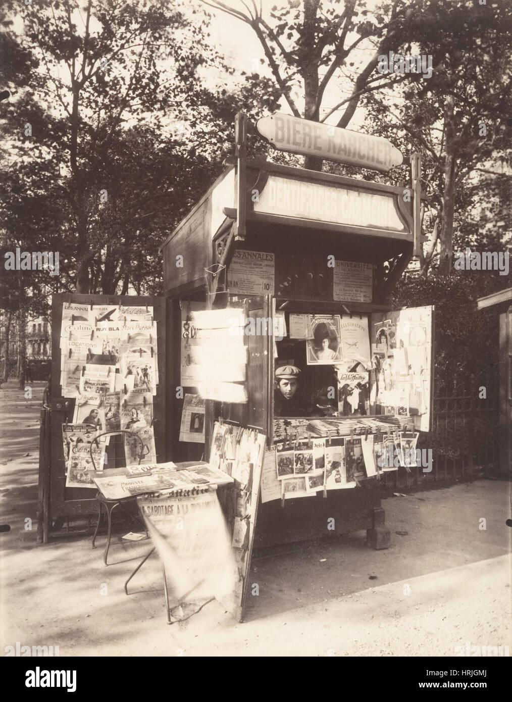 Paris Newsstand, Eug̬ne Atget, 1910s - Stock Image