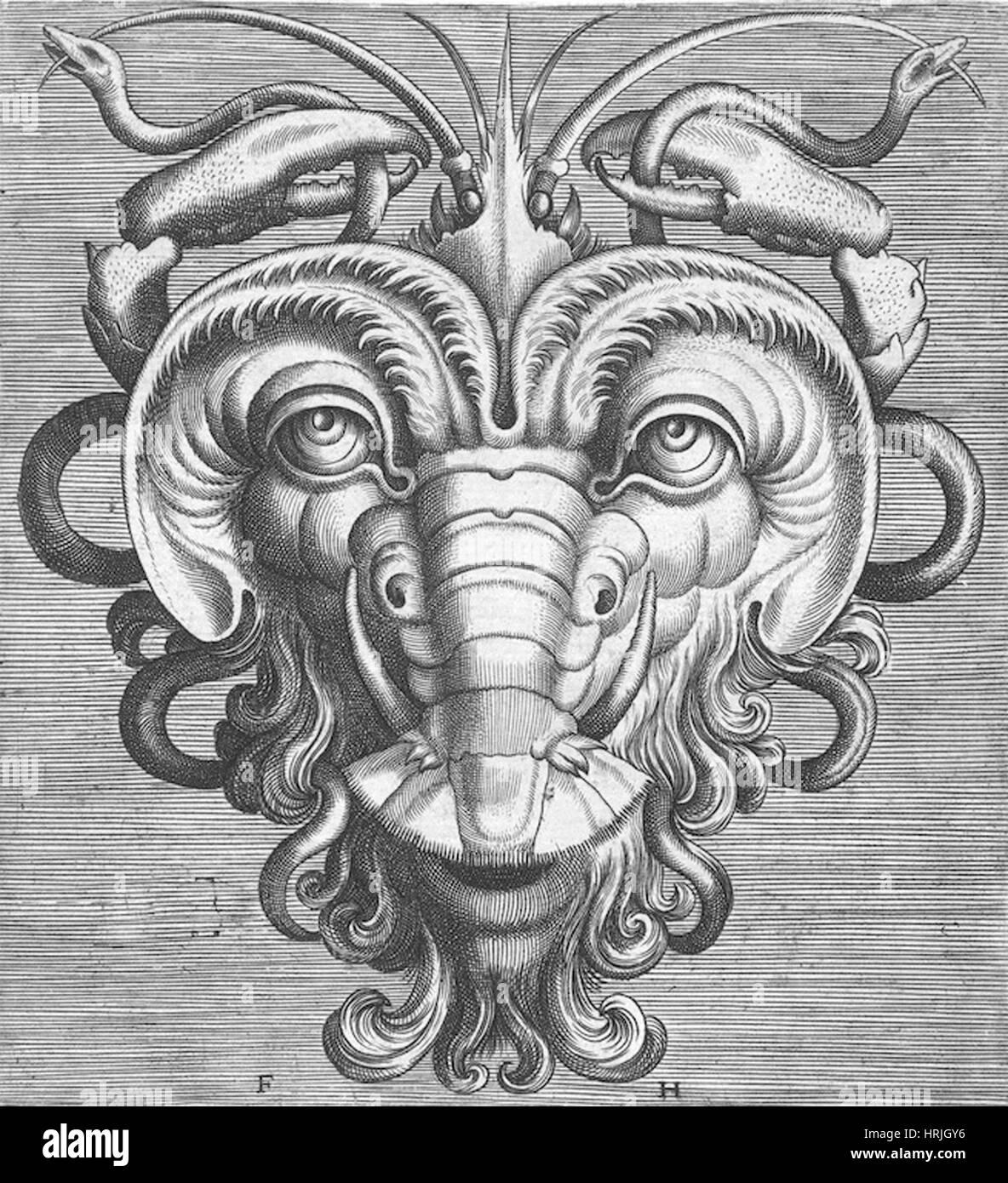 Flemish Mask, 1555 Stock Photo