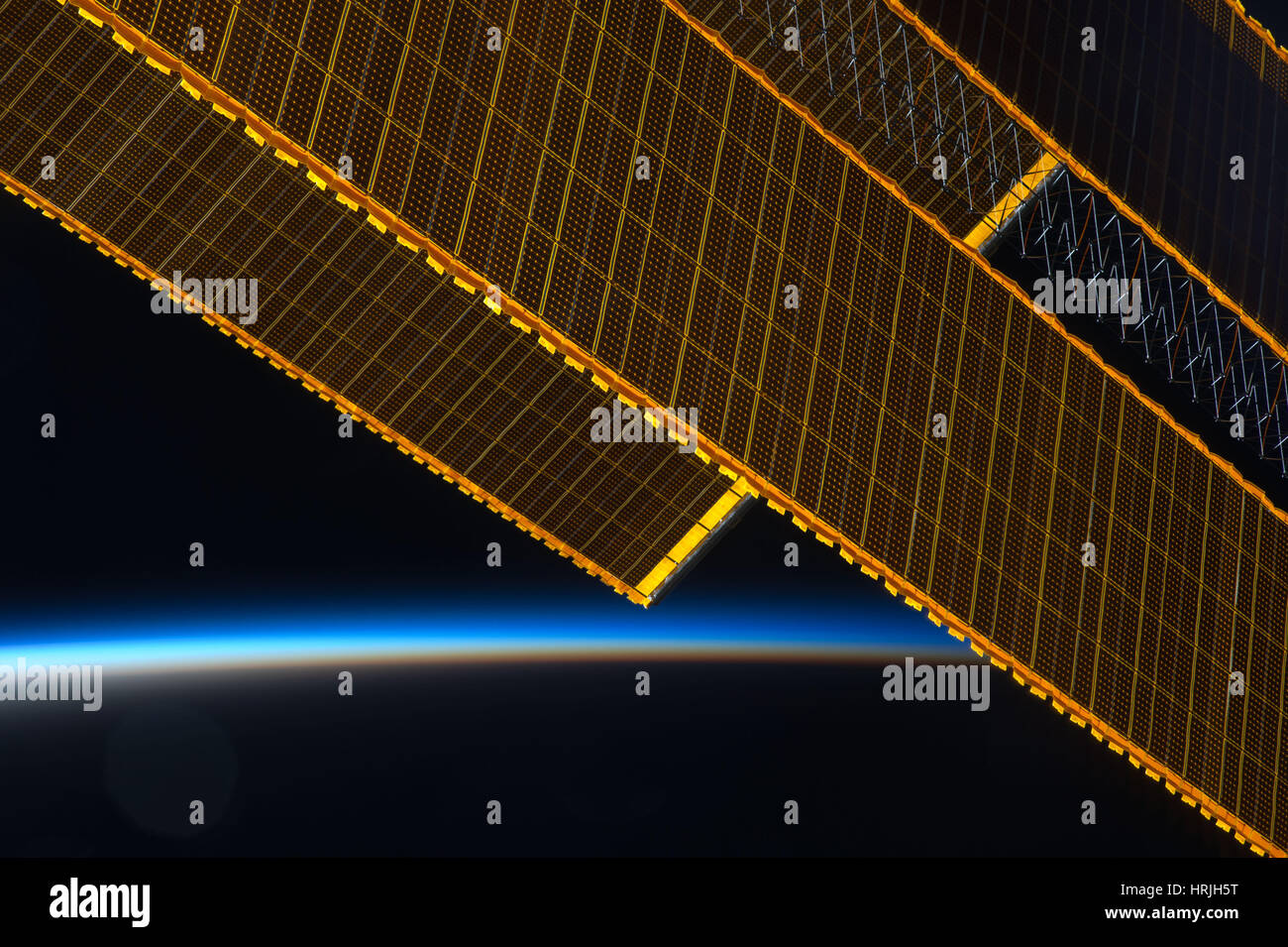 Expedition 40, Solar Array Wings on ISS, 2014 - Stock Image