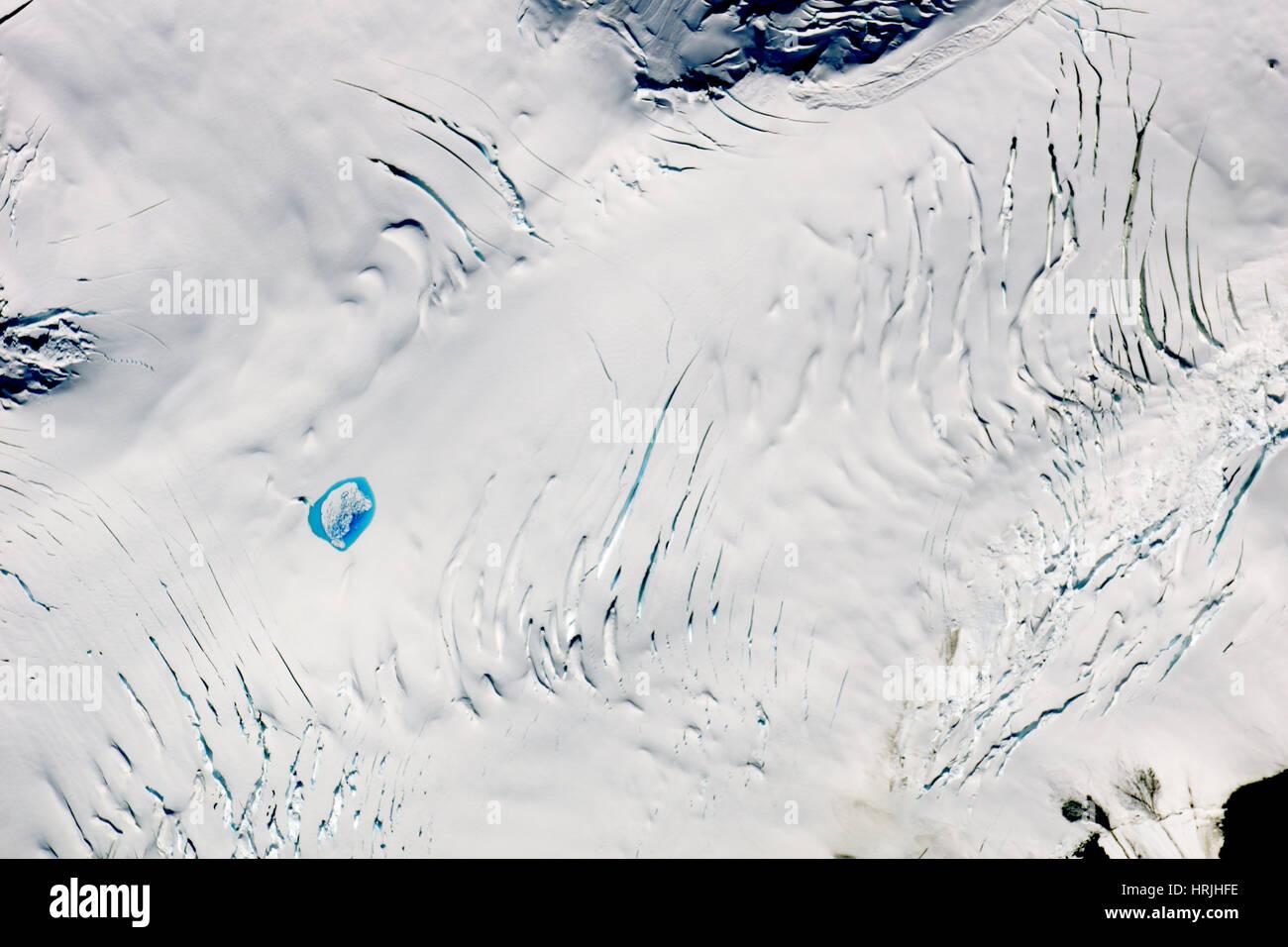 Drainage of Supraglacial Lake (After) - Stock Image