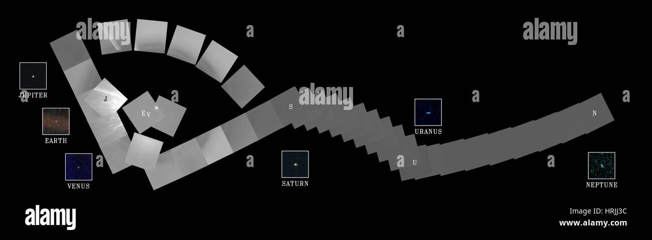 Solar System Family Portrait, Voyager 1, 1990 - Stock Image