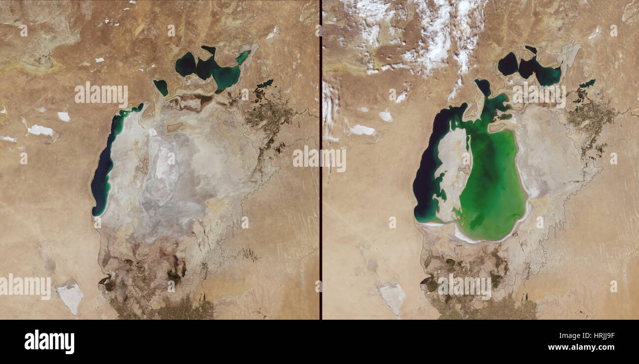 Aral Sea in 2014 and 2000 - Stock Image