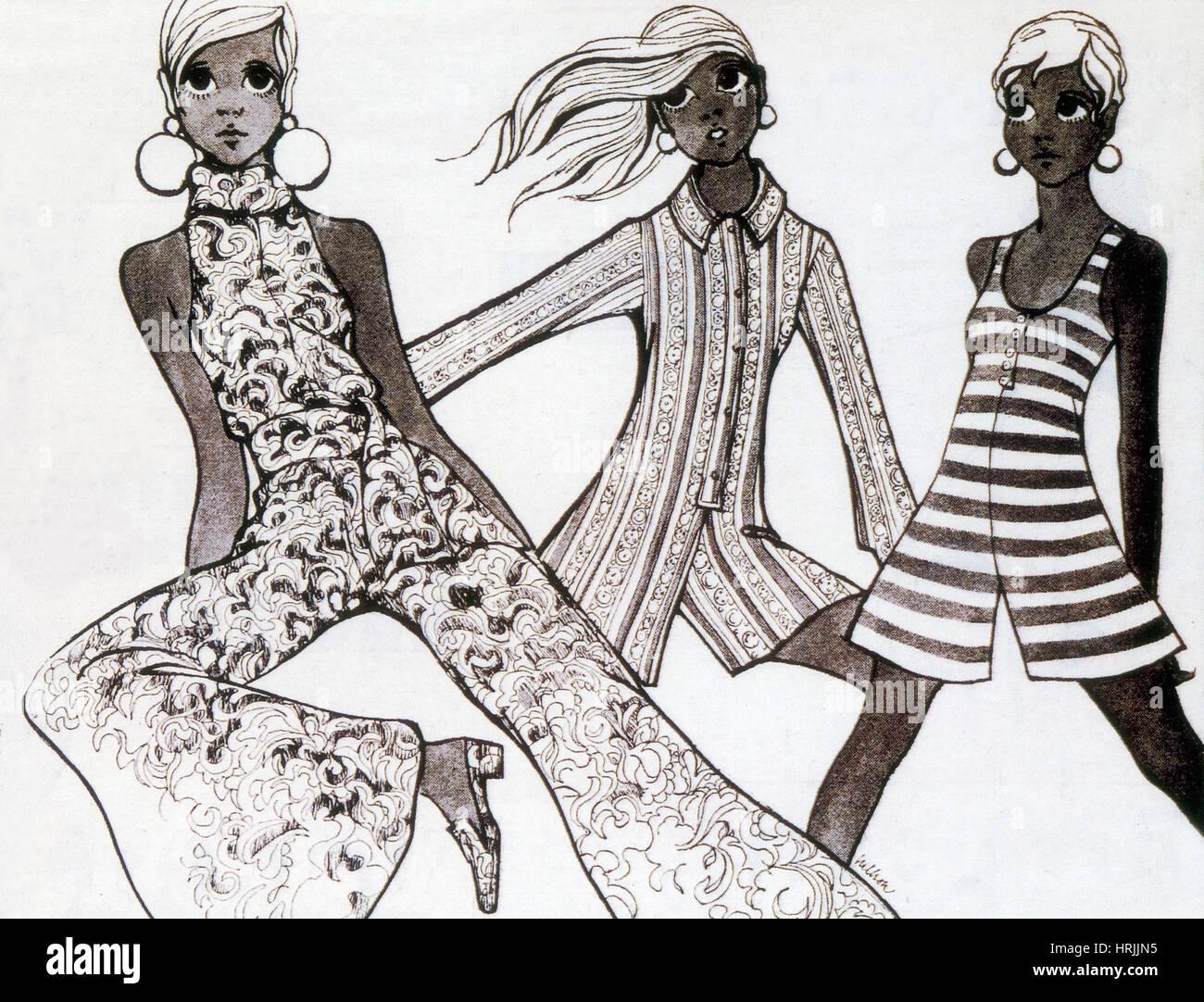 Women's Fashion, Culottes, 1968 - Stock Image
