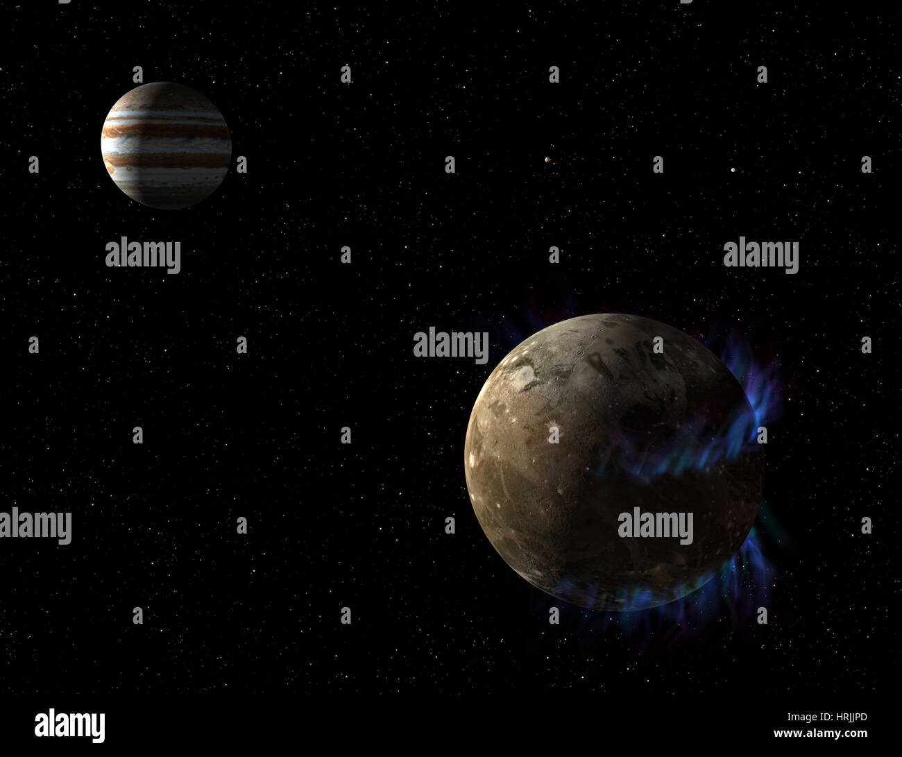 Ganymede and Jupiter - Stock Image