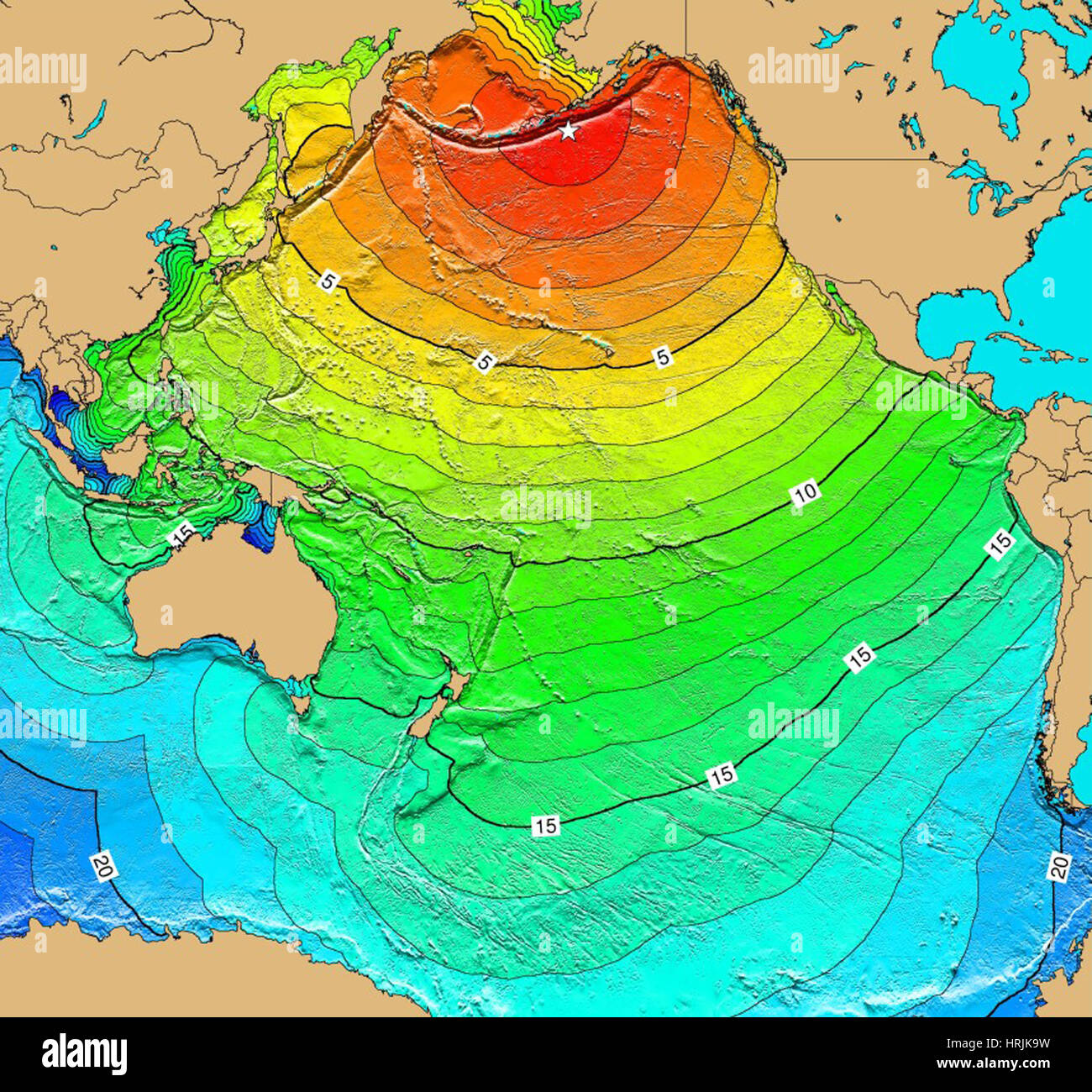 Tsunami Map, Unimak Island Earthquake, 1946 Stock Photo: 135019973 ...