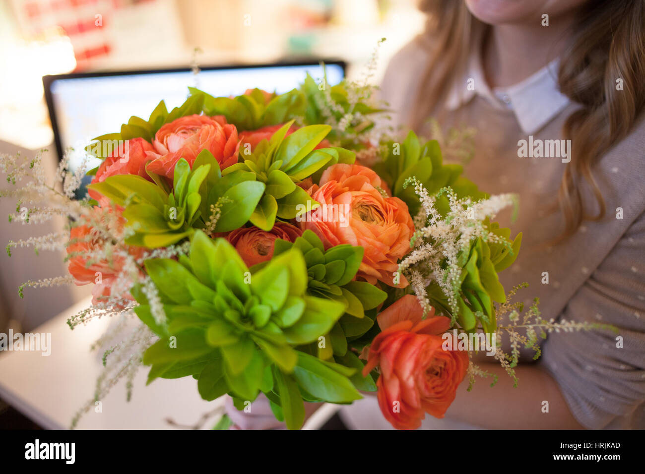 Flower Delivery To The Office Young Woman Holding Beautiful Bouquet