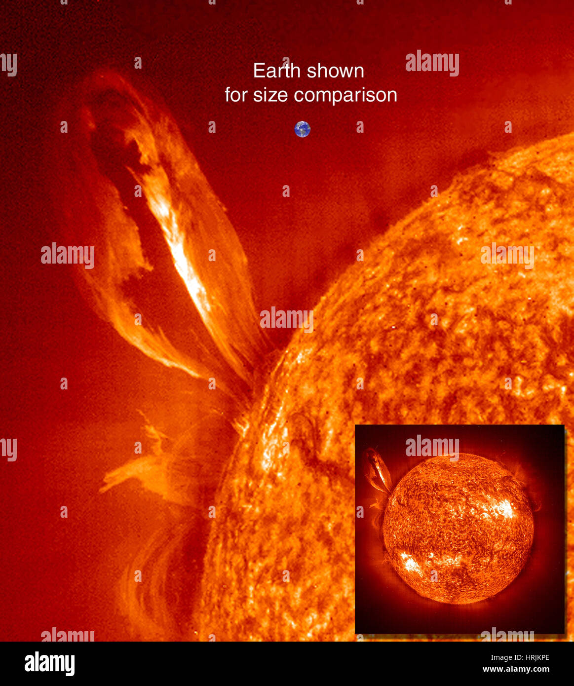 Earth and Sun, Size Comparison, EIT, 1999 - Stock Image