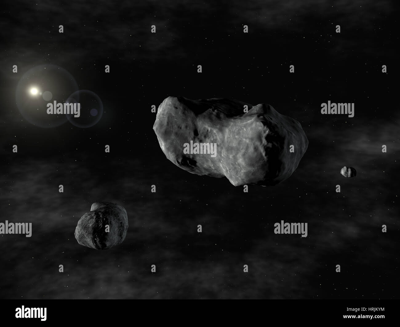 Triple Asteroid System: 87 Sylvia with Romulus and Remus - Stock Image