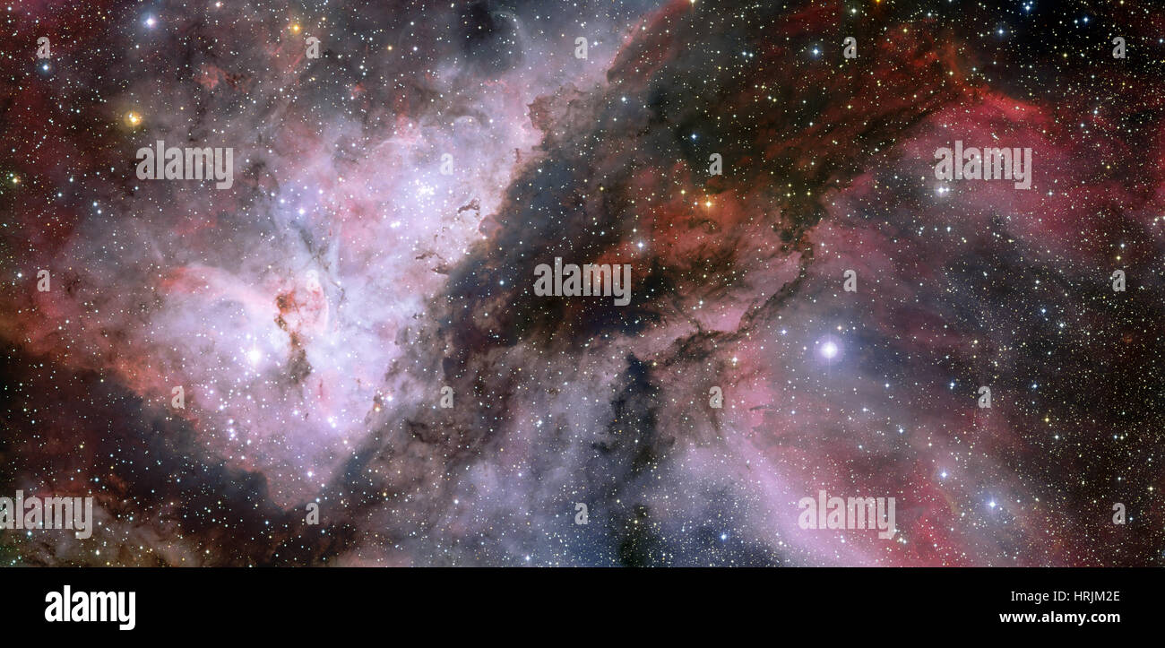 Carina Nebula Stars WR 22 and Eta Carinae - Stock Image