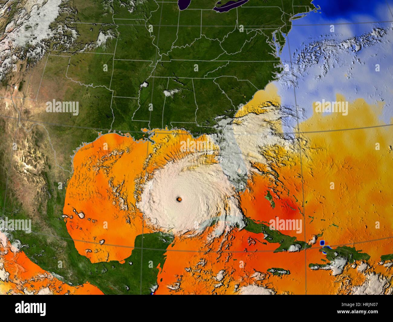 Hurricane Rita, Sea Surface Temperatures, 2005 - Stock Image