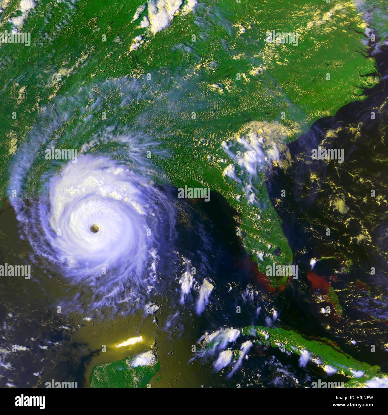 Hurricane Andrew, GOES Image, 1992 - Stock Image