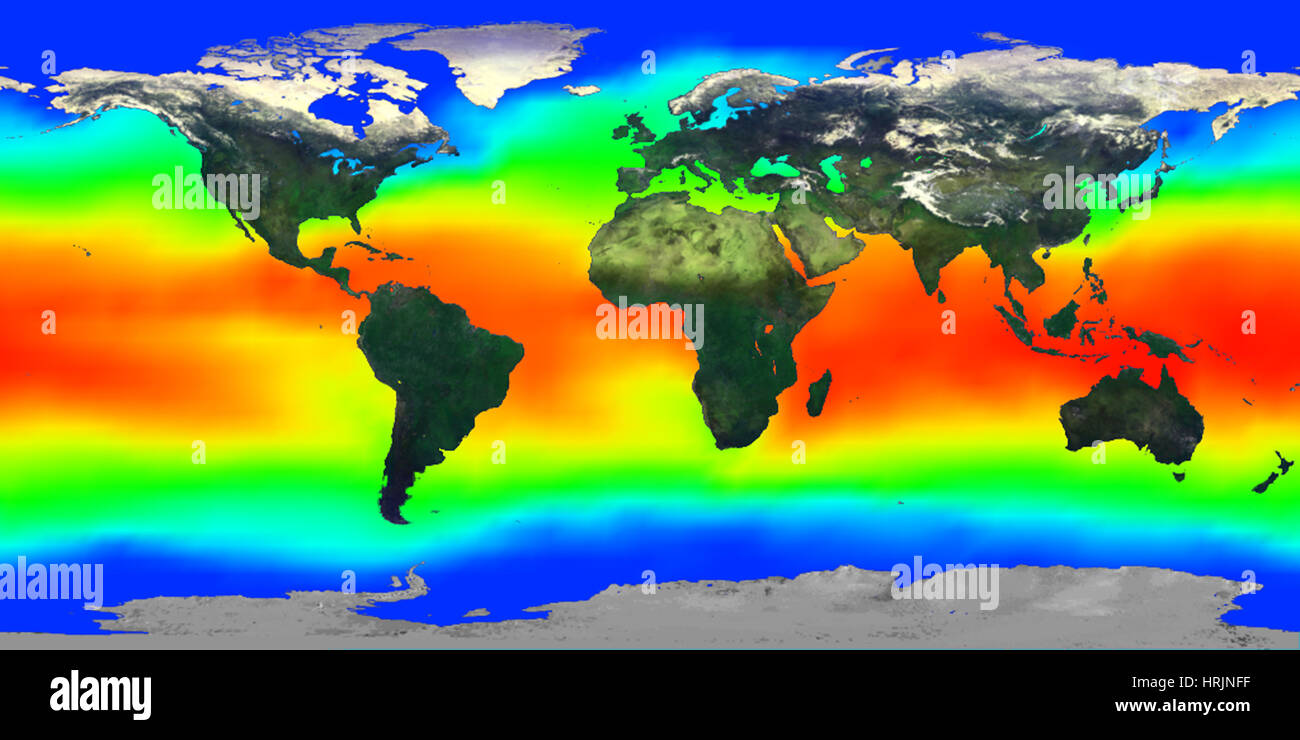 Global Sea Surface Temperature, 1990s - Stock Image