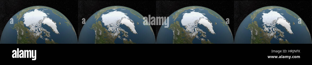 Arctic Minimum Sea Ice: 1985, 1995, 2005, 2015 - Stock Image