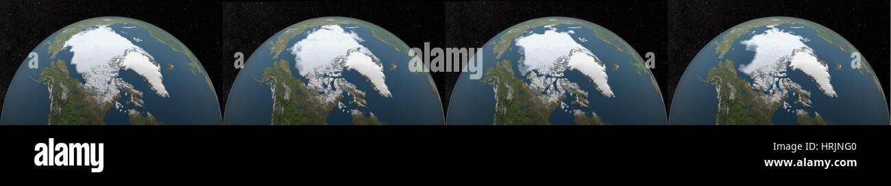 Arctic Minimum Sea Ice: 1979, 1989, 1999, 2009 - Stock Image